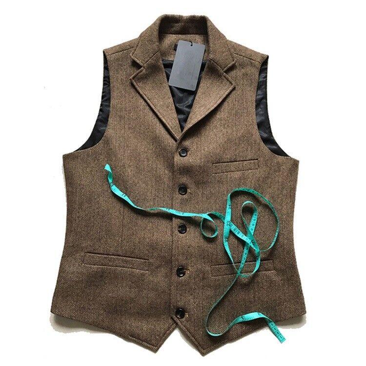 Retro Mens Tweed Wool Blend Lapel Collar Slim Fit Vest Waistcoat Single Breased