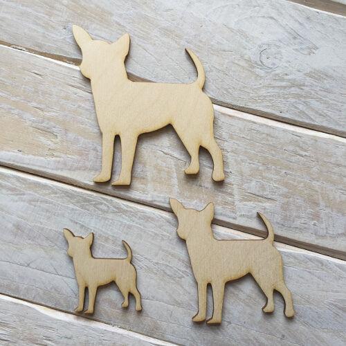 Wooden CHIHUAHUA DOG Shape Craft Blank Embellishment CHIHUAHUA DOG 10 Pack