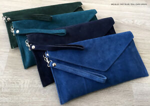 Teal-Green-Wedding-Clutch-Bag-Evening-Bag-Over-Size-Envelope-Suede-Made-in-Italy