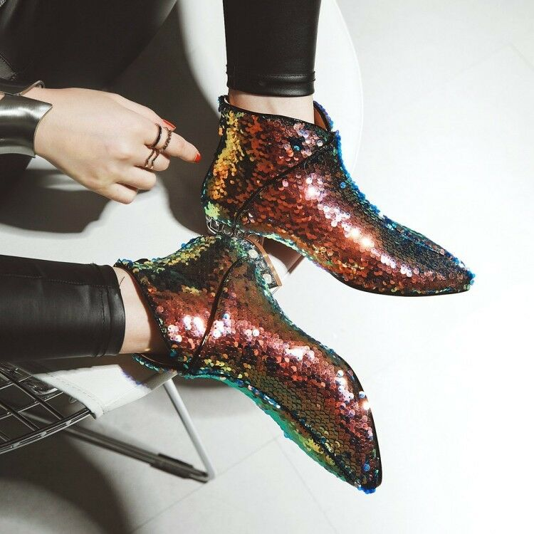 Women Ankle Boots Blings Sequins Beads Block Heel Pointed Toe Zip Casual Shoes N