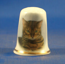 Birchcroft China Thimble -- Bengal Cat with Free Dome Gift Box