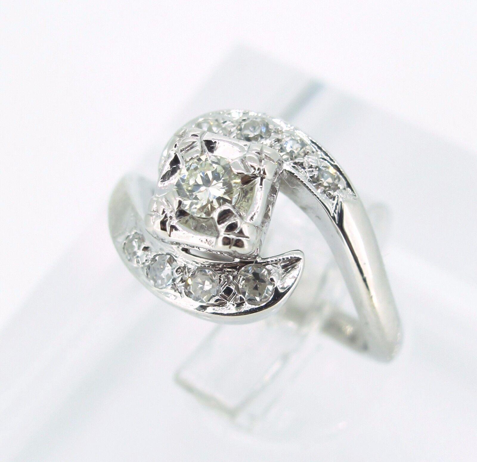 .35 ct tw DIAMONDS 14k White gold Tension Set Swirl ANTIQUE Ladies Ring Size 4.5