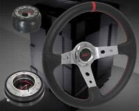 Toyota Ae86 4age Gts 350mm Deep Leather Chrome Steering Wheel+quick Release Hub