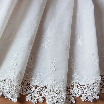 1 Yd Vintage St Embroidery Scalloped Cotton Fabric Eyelet Lace Trim 29 cm Wide