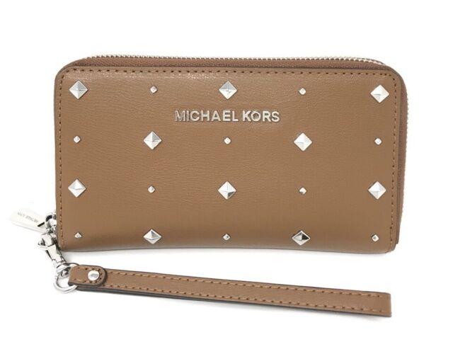7e416be616c7b Michael Kors Leather Stud Jet Set Travel Flat MF Luggage Phone Case Wallet   168