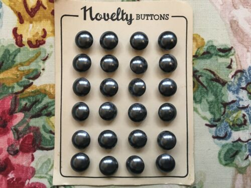 dark grey 11mm Card of 24 vintage 50/'s pearlised glass round buttons