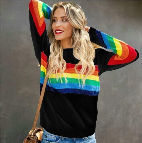 Woman Long Sleeve T-shirt Rainbow Color Printed O Neck Loose Sweatshirt S-XL
