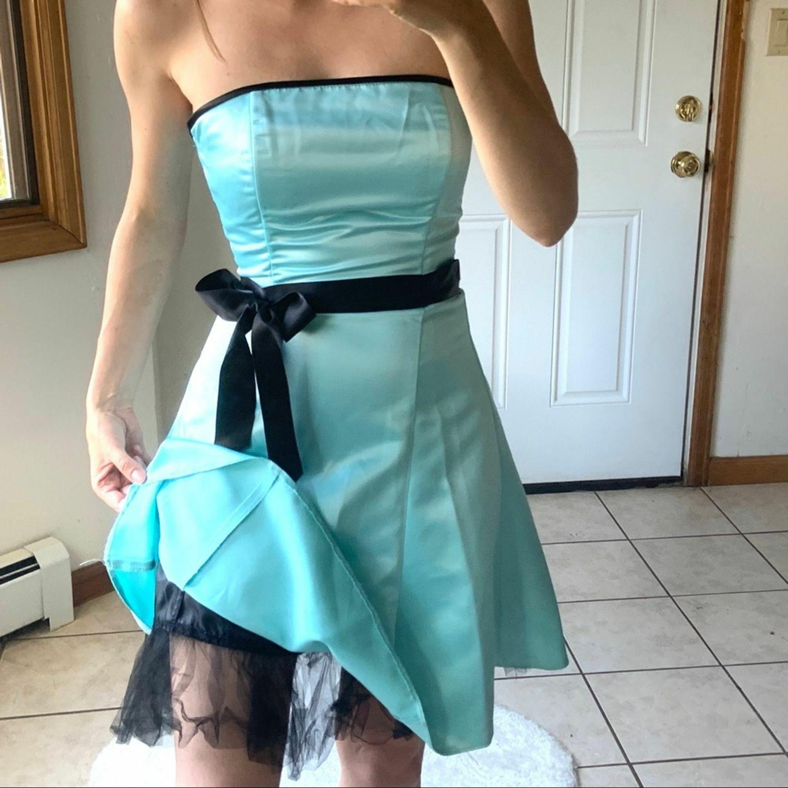 Vtg Jessica McClintock Gunne Sax Blue Formal Dres… - image 7