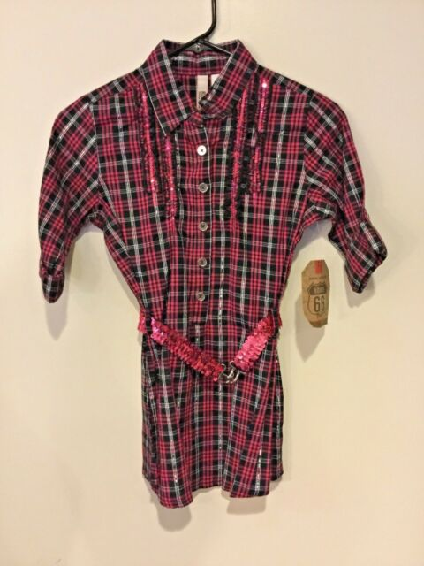 5e85522cc4752 New Girls Route 66 Pink Plaid Blouse Top with Belt Country Western ~Large  10-