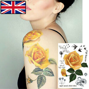 YELLOW ROSE TATTOO TEMPORARY TATTOO FLORAL FLOWER TATTOO WATER ...