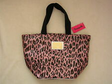 "BETSEYVILLE Pink Leopard ""Kittylicious"" Tote Bag Shopper Purse Betsey Johnson"