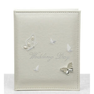 WEDDING DAY PICTURE PHOTO ALBUM CREAM / IVORY WITH RAISED BUTTERFLY DETAILING