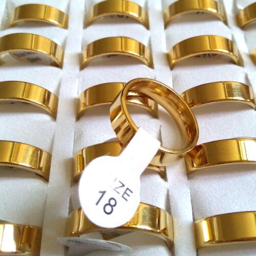 Wholesale 50pcs Fine Polissage Or 4//6//8mm Mixte Hommes femmes bague acier inoxydable