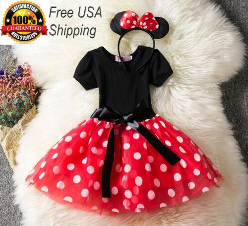 Girls Tutu Dress Princess Birthday Party Costume Minnie Mouse Headband PINK RED