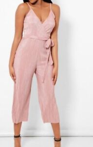 aliexpress wholesale price best loved Details about New Look Pale Pink Wrap V Neck Jumpsuit Dress Women Pink  playsuit 8 - 20