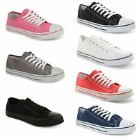 New Ladies Casual Flat Lace Up Canvas Trainers Plimsolls Pumps Womens Shoes Size