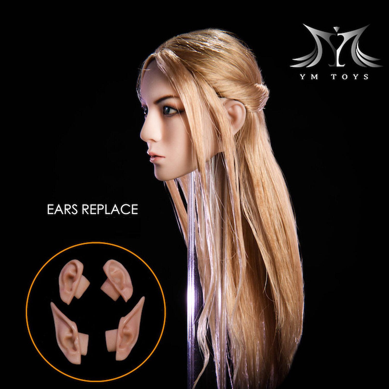 YMtoys 1 6th YMT09-A B Elf Beauty Head Head Head Sculpt Detachable Ears for Female Figure fc8e7c