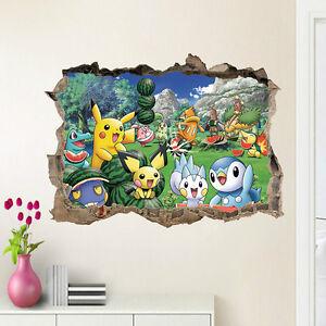 Pokemon-Go-Pikachu-Mural-Wall-Decals-Sticker-Child-Room-Decor-Removable-Vinyl-US