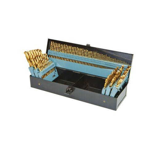 Nitride Coated Titanium M2 High Speed Steel Drill Bit Set w/ Metal Storage Case