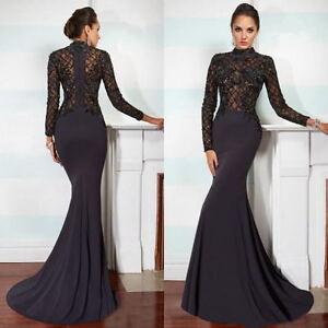 mermaid black long sleeve wedding evening dress prom gown