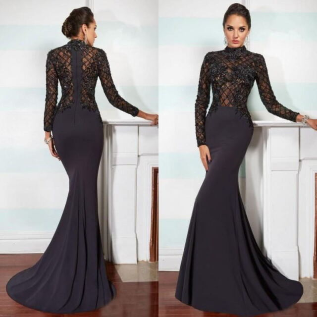 3da2cac569d Long Sleeve Mermaid Black Wedding Evening Dress Prom Gown Formal Party  Celebrity