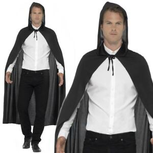 Adult Mens Ladies Unisex Black Hooded Cloak Cape Vampire Halloween Fancy Dress