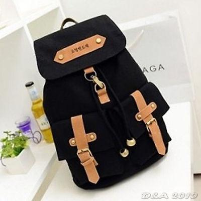Cute Women's Vintage Canvas Satchel Backpack Rucksack Shoulder School Bag Black