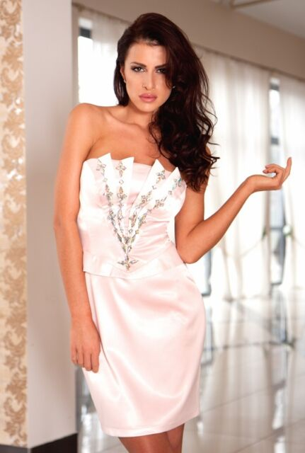 New Ladies Womens Wedding Formal Gown Party Evening Prom Peplum Mini Dress