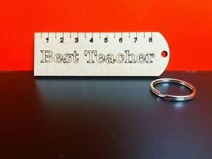 5-x-Mdf-Best-Teacher-Ruler-keyrings-4mm-Mdf-9cm-wide