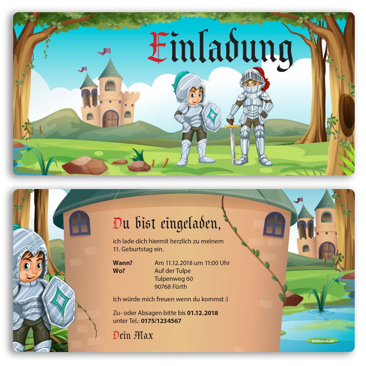 Einladung zum Geburtstag Ritter Mittelalter Einladungskarten Kindergeburtstag