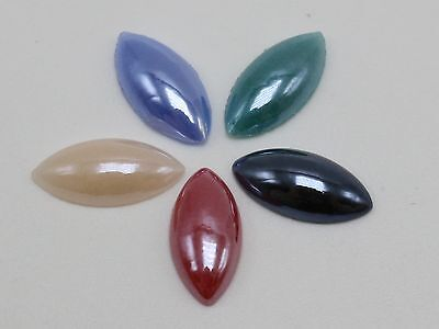 100 Mixed Color AB Horse Eye Flatback Glass Cabochon Ceramic Half Pearl 7X14mm