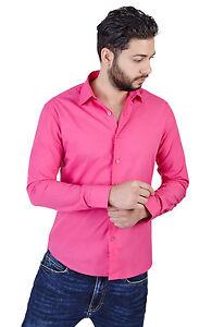 New Mens Slim Fit Solid Fuchsia Pink Dress Shirt By Azar Man 2009