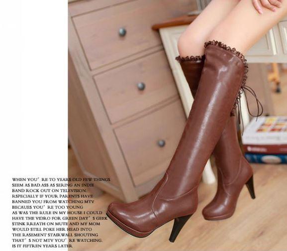 botas muslo invierno cómodo mujer talón como perno 11.5 marrón 880 como talón piel 1357bc