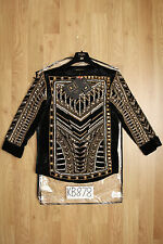 BALMAIN H&M Black & Gold Silk Velvet Jewelled Blouse Top - UK8 US4 EU34 - New