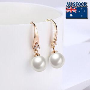 Elegant 18K Gold Filled Classic Simplestyle Pearl Hoop Huggie Drop Earrings