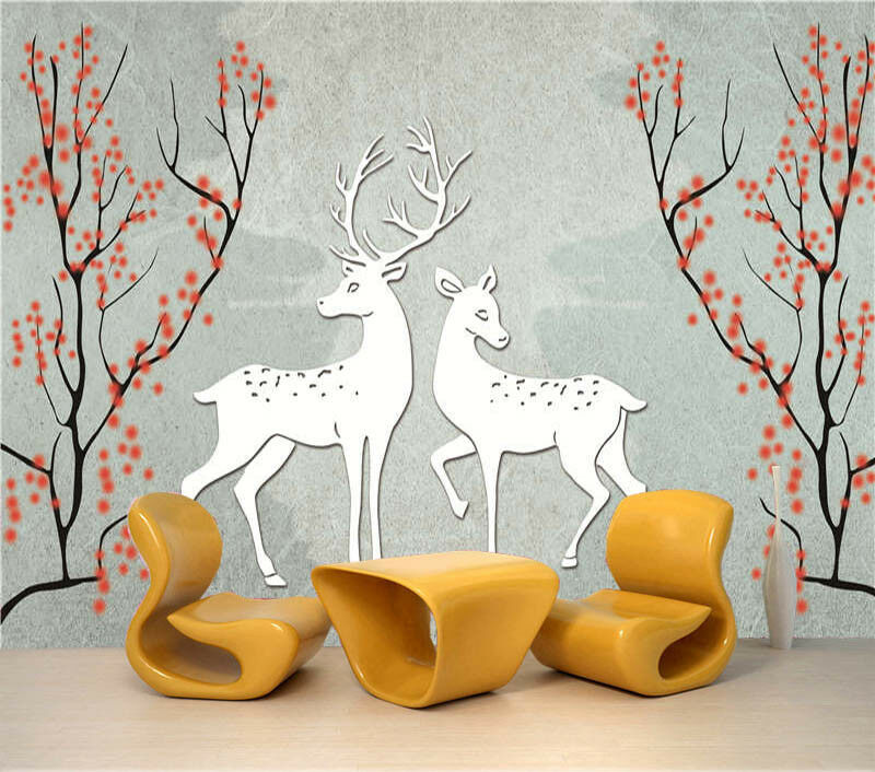Friendly Deer 3D Full Wall Mural Photo Wallpaper Printing Home Kids Decoration
