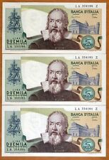 LOT Italy, 3 x 2000 Lire, L. 1973 (1983), P-103c, Running S/N Gem UNC > Gallileo