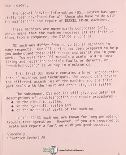 Business & Industrial Service Information Manual Deckel FP2NC FP3 ...