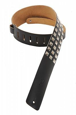 """Levy's M1SD-BLK - 2½"""" leather guitar strap with metal studs"""