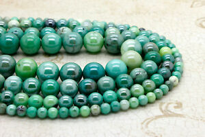 Natural-Moss-Green-Opal-Smooth-Round-Sphere-Ball-Loose-Gemstone-Beads