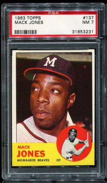 1963 Topps Baseball #137 MACK JONES Milwaukee Braves PSA 7 NM