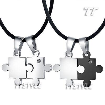 TTstyle Engravable S.Steel Puzzle Pendant For Couple Two Chain Choose Colour