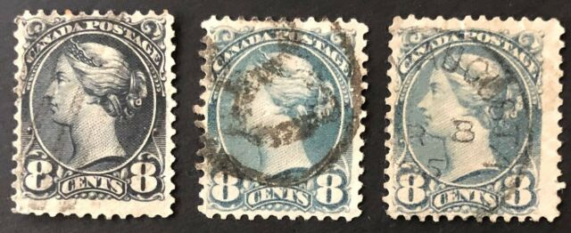 CANADA 1897 QUEEN VICTORIA SMALL QUEEN # 44 8 cent x 3 SHADES USED