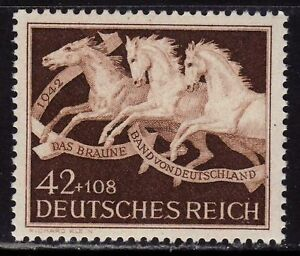 THIRD-REICH-Mi-815-mint-MNH-Braunes-Band-Horse-Race-stamp-CV-12-00