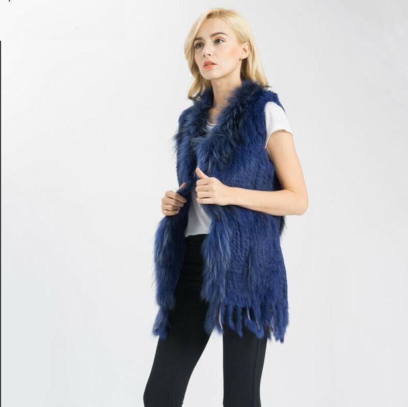 7 Färger kvinnor Real Fur Gilet Trimming Vest Warm Coats Zhou88