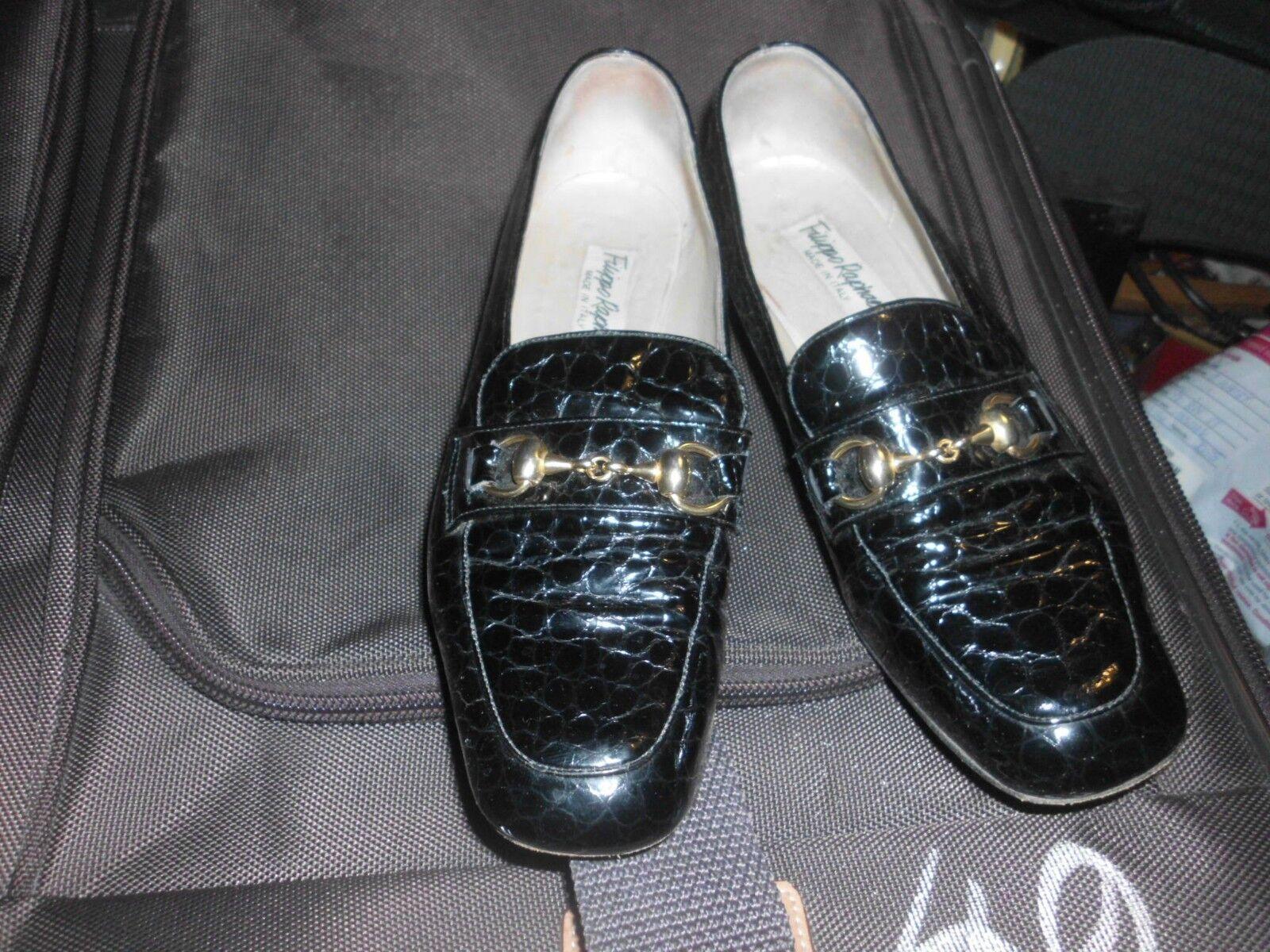 FILLIPO RAPHAEL ALL LEATHER CROCODILE PATTERN ITALIAN Schuhe SIZE 37.5
