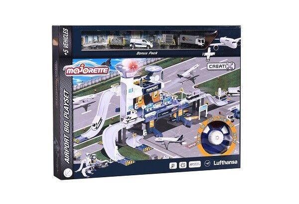 MAJORETTE 212050018-Creatix Playset Airport avec 5 véhicules-Lufthansa-Neuf