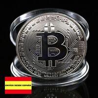 MONEDA BITCOIN 1 ONZA, reproducción chapada en plata, envío desde España