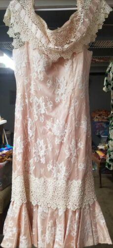 Vtg Lorrie Kabala dress lace off shoulder m l vint