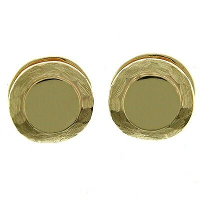 New Pair of 14k Yellow Gold Matte Finish Designer Huggie Earrings